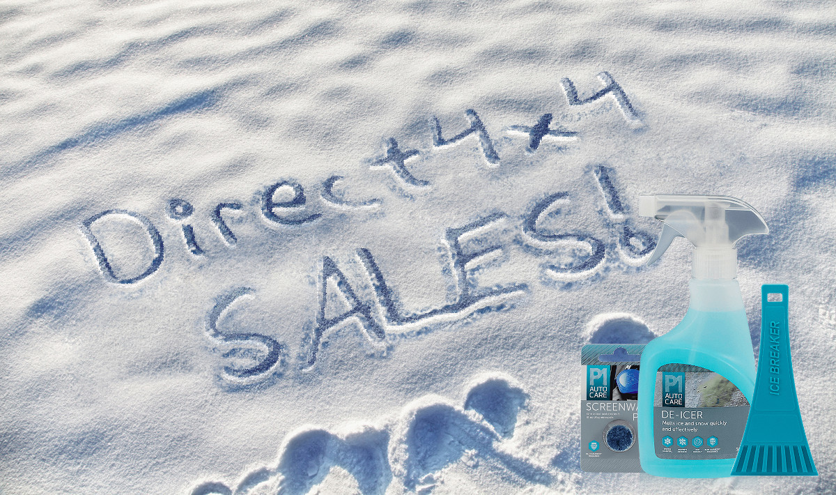 Direct4x4 January sales written in snow with a winter care essentials kit overlaid